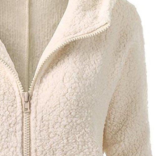 Lana Abrigo Jersey Invierno Cálida Abrigo de Cremallera de Logobeing Mujeres de Beige Capucha Algodón Con Suéter WxnIaqW0gw