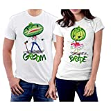 lil boosie t shirt - Matching Groom and Bride Watermelons Couple T-Shirts Men M/Women L White