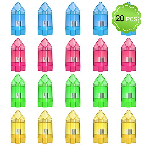 MENOLY 20 Pack Pencil Sharpener Manual Single Hole Pencil Sharpener with Eraser and Cover Colored Small Pencil Sharpener Hand Pencil Sharpeners for School Office Home, 4 Color