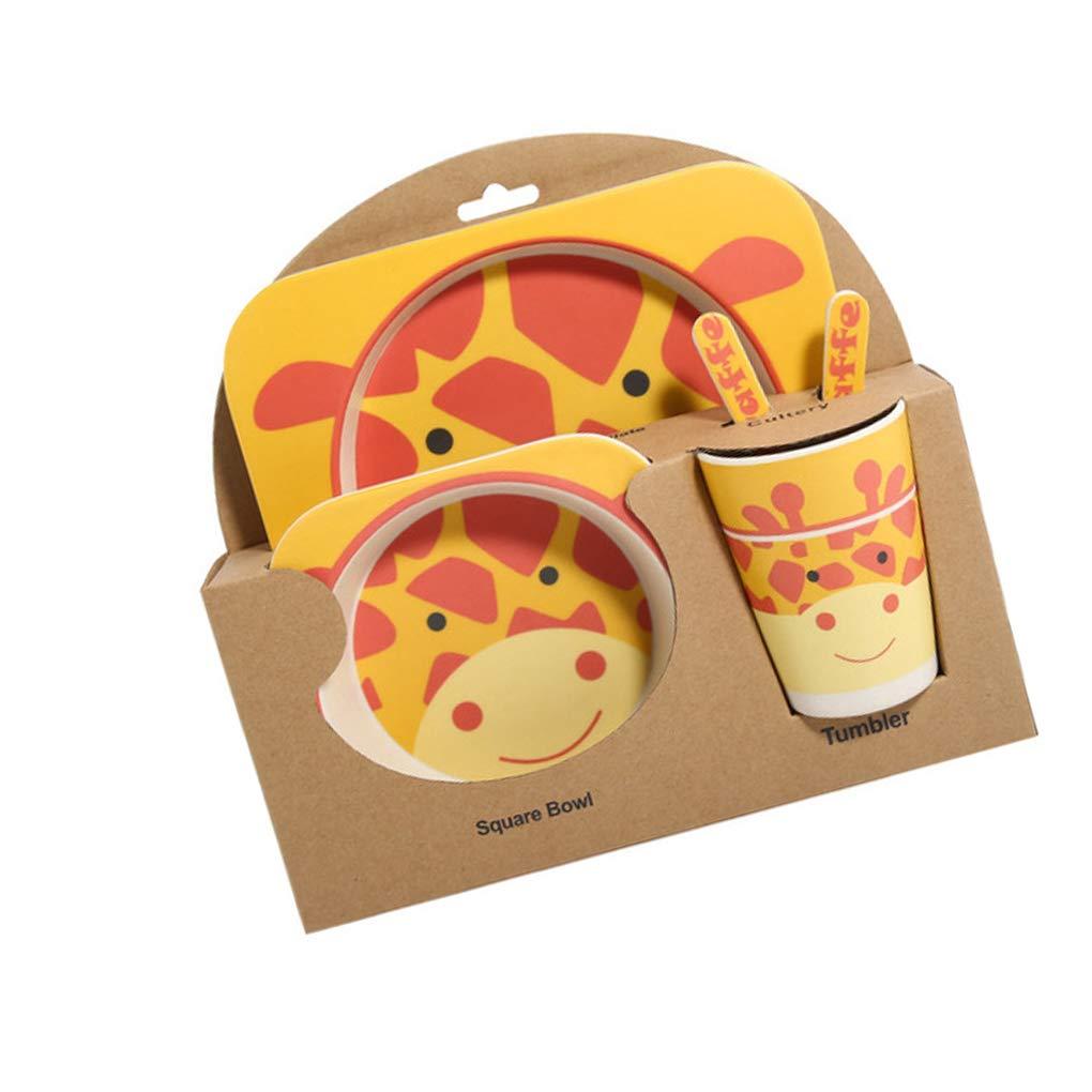 MuLuo Kids Tableware Set 5Pcs Baby Bamboo Fiber Cartoon Bowl Animal Dinnerware Set Toddler Cup Spoon Fork