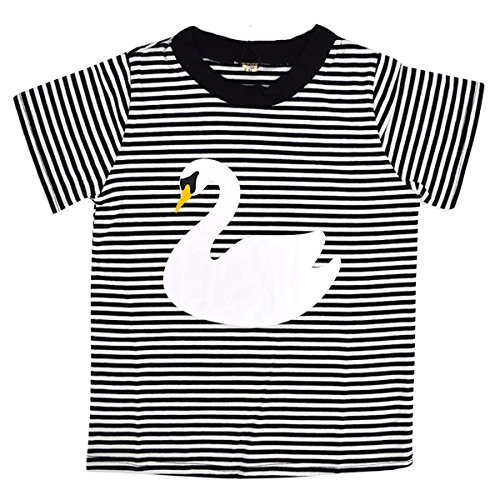 Mily Unisex Kid Classic Stripe T-Shirt Cute and Exquisite Swan Pattern Crewneck Short Sleeve Cotton T-Shirt Classic Swan Neck