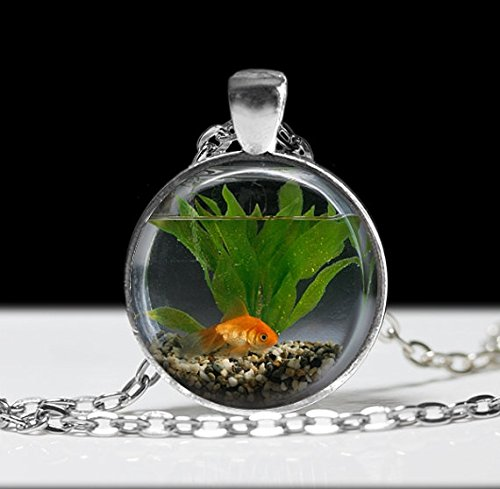 - Goldfish Bowl Necklace Fish Jewelry Necklace Wearable Art Pendant Charm Goldfish Pendant Charm