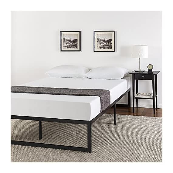 Zinus Abel 14 Inch Metal Platform Bed Frame / Mattress Foundation / No Box Spring Needed / Steel Slat Support / Easy Quick Lock Assembly, Queen - 14 inches with 13 inches of clearance under the frame for valuable under bed storage space Compact design allows for tight spaces such as staircases and doorways Reliable & extra durable steel slat mattress foundation - bedroom-furniture, bedroom, bed-frames - 51Z7qECg3oL. SS570  -