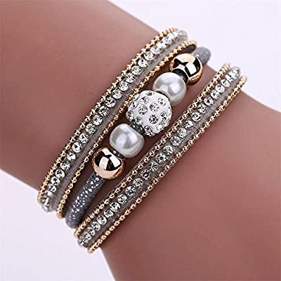 Gahrchian Diamond Bracelet Boho Pearl Swarovski Crystal Wrist Cuff Bracelets for Women Girl Sister Mother Friends Jewelry (Black): Clothing