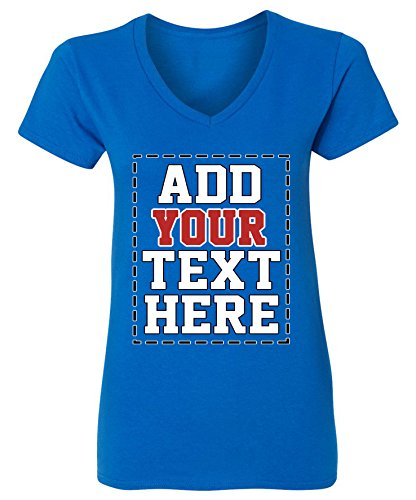 Custom V Neck T Shirts for Women - Make Your OWN Shirt - Add Your Number Text Printing -