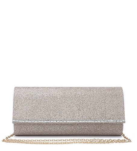 Hand Clutch Party Evening Ladies Womens Prom Foldover Shimmer N20 Occasion Dressy Champagne Bags qzU88wTXn