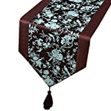 13x79 Inch Beautiful Chinese Style Dining Table Runner, Blue Flower/Bird