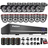 TMEZON 16Channel DVR CCTV Security Cameras System w/8 Outdoor Bullet+ 8 Indoor Dome 800TVL Day Night Vision Surveillance Cameras P2P Smart Phone View with 2TB Hard Drive