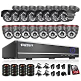 TMEZON 16Channel DVR CCTV Security Cameras System w/ 8 Outdoor Bullet+ 8 Indoor Dome 800TVL Day Night Vision Surveillance Cameras P2P Smart Phone View with 2TB Hard Drive