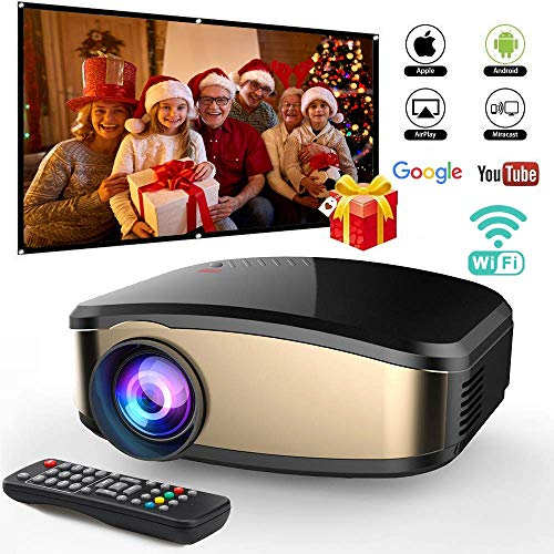 Wireless WiFi Video Projector DIWUER Full HD 1080P Portable Mini Projectors Support Airplay Mira-cast for Home Theater Game Movie -