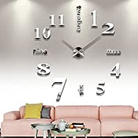 Beautyrain 3D DIY Reloj de Pared Moderno sin Marco Grande 3D DIY Reloj de Pared Kit decoración hogar para Sala de Estar Dormitorio