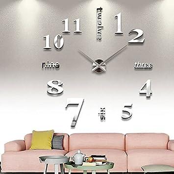Springdoit Reloj de pared creativo de gran tamaño del reloj de pared de DIY reloj de