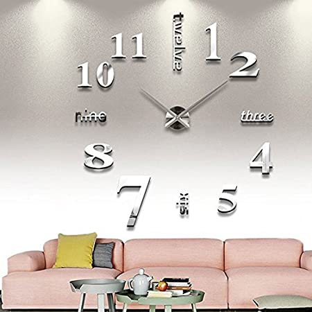 3D DIY Wall Clock Modern Frameless Large 3D DIY Wall Clock Kit Decoration Home for Living Room Bedroom(Silver) Beautyrain