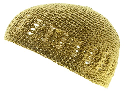 100% Cotton KUFI Crochet Beanie Skull Cap Knit Hat Brand New (Beige)