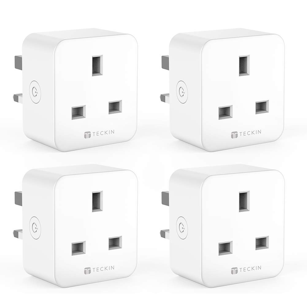 TECKIN WiFi Smart Plug, Mini Outlet Smart Socket, Energy Monitoring, Timing Function Control Your Devices from Anywhere, Works with  Alexa and Google, No Hub Required(4 Pack)