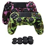 YoRHa Water Transfer Printing Camouflage Silicone Cover Skin Case for Sony PS4/slim/Pro controller x 2(pink+yellow) With Pro thumb grips x 8 For Sale