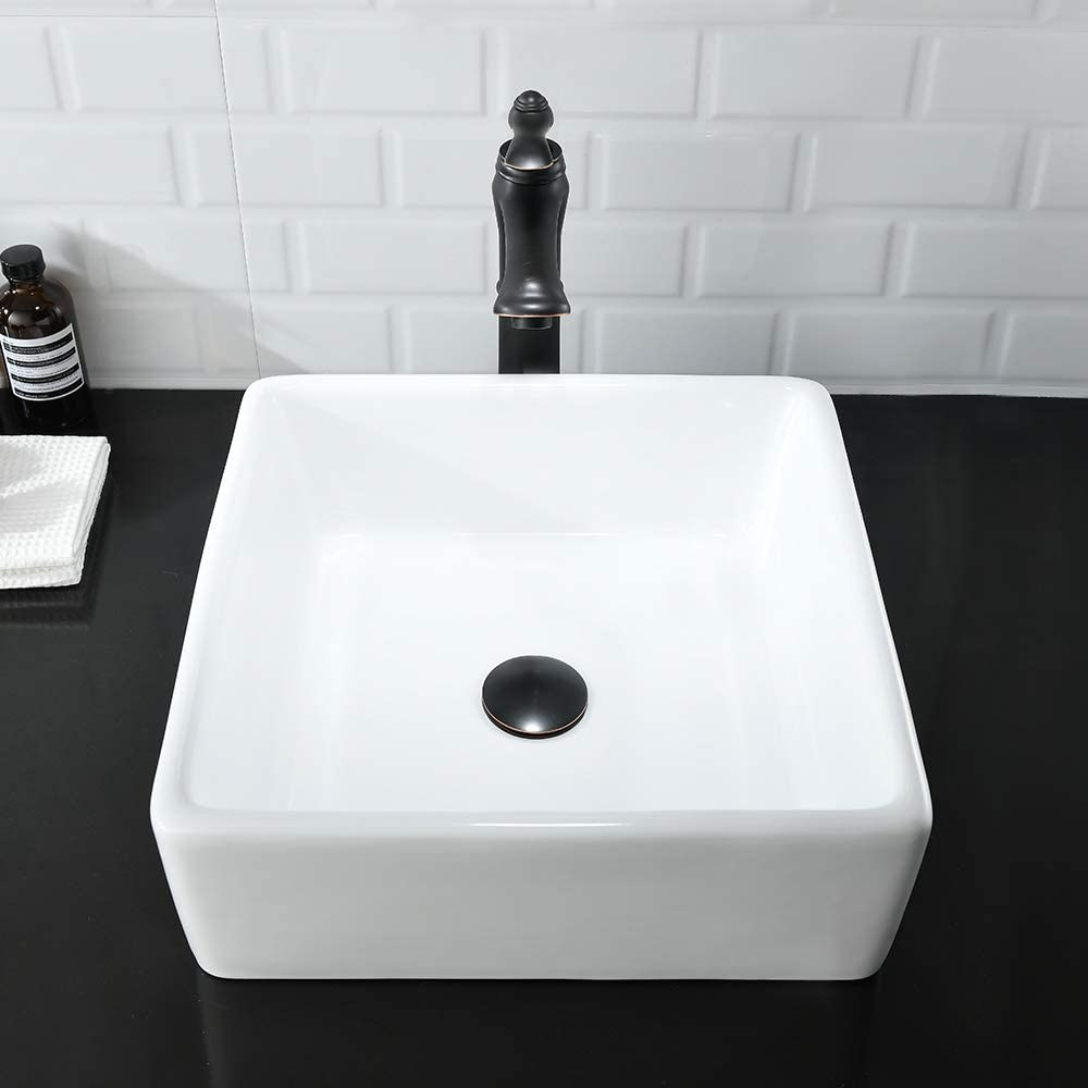 Bathroom Sink And Faucet Combo Bokaiya 15 X15 Small Above Counter Bathroom Vessel Sink Square White Porcelain Ceramic Vessel Vanity Sink Art Basin Faucet And Pop Up Drain Combo Amazon Com