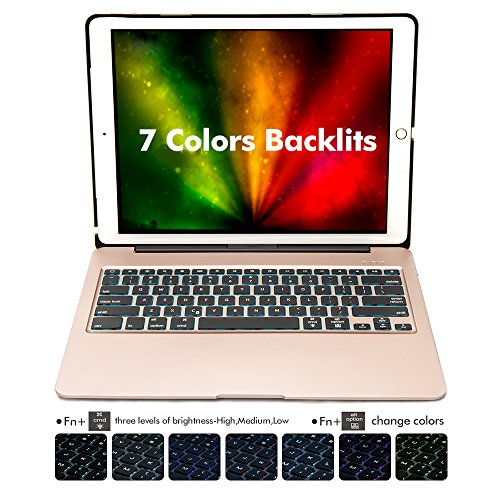 iPad Pro 12.9 Keyboard Case, iEGrow F07 7 Colors Backlit Slim Aluminum Bluetooth Keyboard with Protective Cover and 5600 mAh External Battery for iPad Pro12.9 Model  A1584/A1652/A1670/A1671