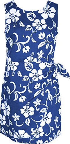 Pareo Hawaiian Mock Wrap Sarong Dress Royal Blue XXL (Hibiscus Sarong Dress)
