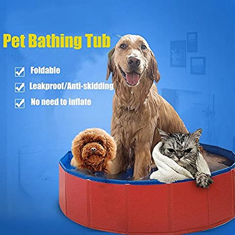 Lumcrissy Large Dog Pet Bathing Tub Portable folding PVC Pet Large Swimming Pool Bathing Tub Bathtub Small Pet Dog Cats Washer 32inch.D x (Tub For Small Pets)