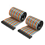 uxcell IDC 50 Pins Wire Flat Rainbow Ribbon Cable 128cm 2.54mm Pitch 2pcs