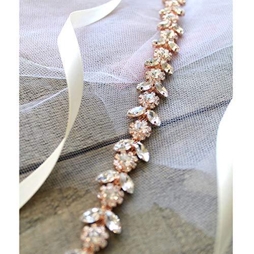 SWEETV Crystal Flower Wedding Belt Rhinestone Headband Sash Belt for Bride Bridesmaid Flower-Girl, Rose Gold
