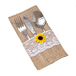 50 PCS Natural Burlap Silverware Napkin Holders with Rustic Sunflower and Lace Cover ,Cutlery Pouch for Vintage Wedding Table Decor or Shower Party Table Setting