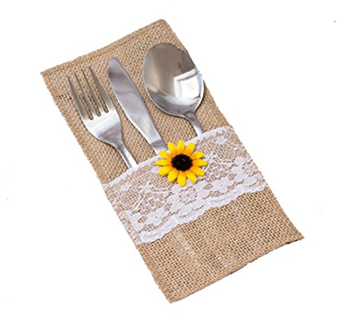 GUAHONG 50 PCS Natural Burlap Silverware Napkin Holders with Rustic Sunflower and Lace Cover,Cutlery Pouch for Vintage Wedding Table Decor or Shower Party Table Setting