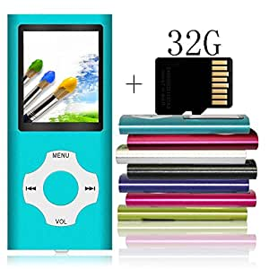 Tomameri - MP3/MP4 Player with Rhombic Button, Including a 32 GB Micro SD Card and Maximum support 32GB, Compact Music & Video Player, Photo Viewer, Video and Voice Recorder Supported - Blue