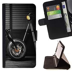 Momo Phone Case / Flip Funda de Cuero Case Cover - Moto Rueda Negro Lámpara Dise?o Garaje - MOTOROLA MOTO X PLAY XT1562