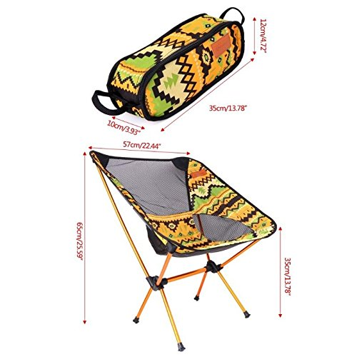 MIJORA-Aluminum Folding Camping Chair Seat For Outdoor Fishing Hiking Beach Picnic Tool(yellow) by MIJORA (Image #6)