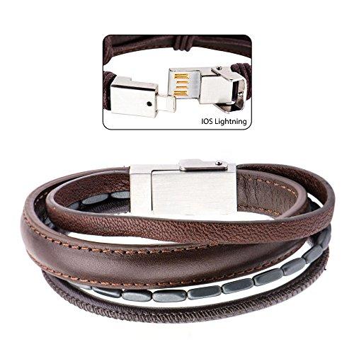 Men's Multi Genuine Brown Leather And Black Hematite USB Bracelet (BR1600-IOS)