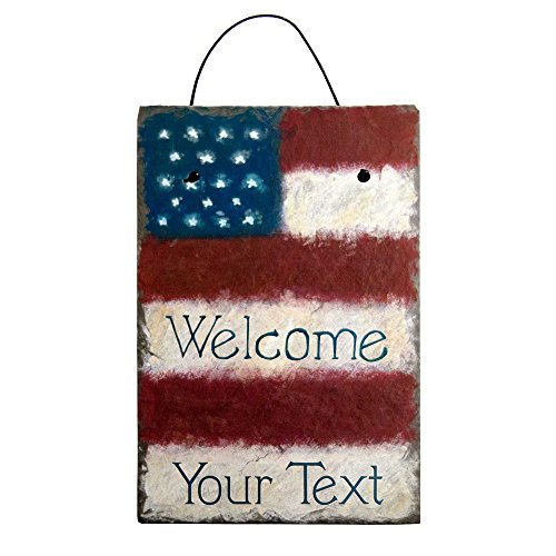 Cohas Personalized Stars and Stripes American Flag Hand Painted Welcome Sign on 8 by 12 Inch Slate Board with Choice of (Hand Painted Welcome Signs)