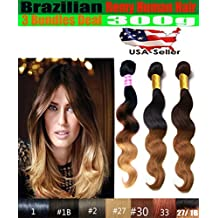"uSTAR 3 Bundle Brazilian Body Wave Hair Weave Extension - Tip-Dyed Two-Tone #1B/#30 Color - 100% Human Hair - 12""14""16"""