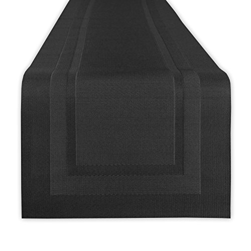 DII Everday, Easy to Clean Indoor/Outdoor Woven Vinyl 14x72 Double Border Table Runner, Black