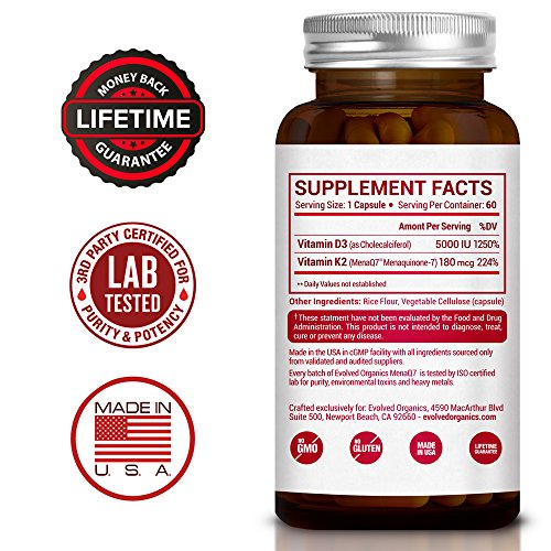 Extra Strength Vitamin K2 MK7 Plus D3–Vitamin D3 K2 Supplement for Healthy Bones, Healthy Heart & Cardiovascular Health 60 Small and Easy to Swallow Vegan Caps MenaQ7 180 mcg & Vitamin D3 5000 IU
