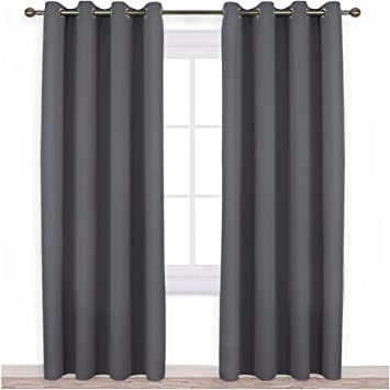 Amazon Com Nicetown Bedroom Blackout Curtains Panels Triple Weave Energy Saving Thermal Insulated Solid Grommet Blackout Draperies For Patio 1 Pair 52 Inches By 95 Inch Grey Home Kitchen