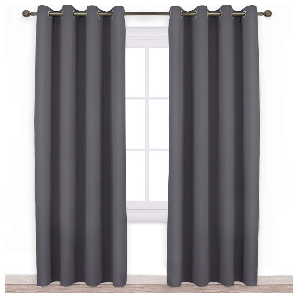 NICETOWN Bedroom Blackout Curtains Panels - Triple Weave Energy Saving Thermal Insulated Solid Grommet Blackout Draperies for Patio (1 Pair, 52 inches by 95 Inch, Grey)