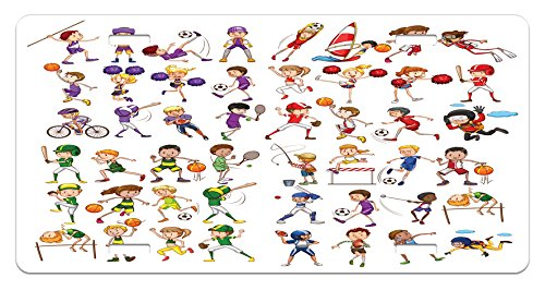 Cheerleader Girl Plate (Sports License Plate by Lunarable, Kids Playing Various Sports Illustration Cheerleader Boys Girls Children Pattern, High Gloss Aluminum Novelty Plate, 5.88 L X 11.88 W Inches, Multicolor)