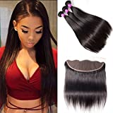 RECOOL Brazilian Hair Straight Bundles With Frontal Closure Ear to Ear Lace Closure and Bundles 8a Virgin Human Hair Extensions Natural Color(24 26 28 with 22) For Sale