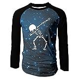 HOD BAO Dabbing Skeleton Dab Hip Hop Skull Dabbin Men's Round Neck Raglan Sleeve Long T-shirt Blouse Tops Casual Teen Boys Tees S