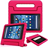 Fintie Shock Proof Case for All-New Amazon Fire 7 Tablet (7th Gen, 2017) - Kiddie Series Light Weight Convertible Handle Stand Kids Friendly Cover, Compatible with Fire 7 (5th Gen, 2015), Magenta
