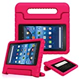 kindle fire protection case - Fintie Shock Proof Case for All-New Amazon Fire 7 Tablet (7th Gen, 2017) - Kiddie Series Light Weight Convertible Handle Stand Kids Friendly Cover, compatible with Fire 7 (5th Gen, 2015), Magenta