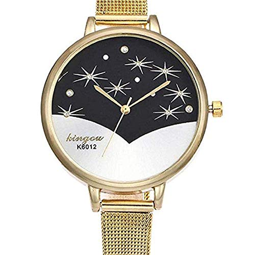 FAVOT 2019 New Women's Fashion Watch Romantic Crystal Shiny Star Temperament Grid Strap Student Casual Analog Quartz Watch Dress Accessories (Gold)