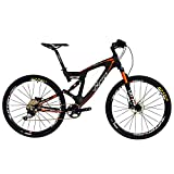 BEIOU Carbon Dual Suspension Mountain Bicycles All Terrain 27.5 Inch MTB 650B Bike SHIMANO DEORE 10 Speed 12.7kg T700 Frame Matte 3K CB22 (Orange, 18″) For Sale
