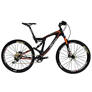 "BEIOU Carbon Dual Suspension Mountain Bicycles All Terrain 27.5 Inch MTB 650B Bike SHIMANO DEORE 10 Speed 12.7kg T700 Frame Matte 3K CB22 (Orange, 18"")"