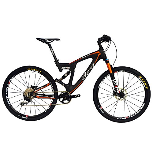 BEIOU Carbon Dual Suspension Mountain Bicycles All Terrain 27.5 Inch MTB 650B Bike Shimano SLX M7000 1x11 Speed 12.7kg T700 Frame Matte 3K CB22 (1x11S SLX M7000, 18