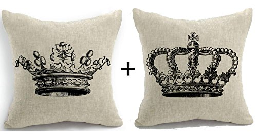 Set of Two Retro Vintage French Royal Family Queen King Imperial Crown Pattern Cotton Linen Decorative Throw Pillow Case Cushion Cover Square 18