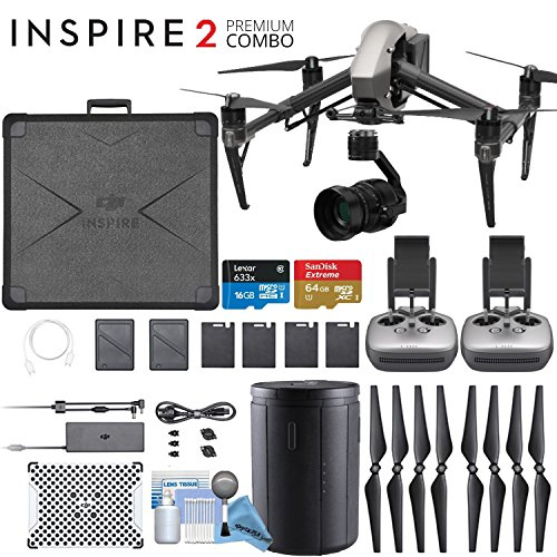 DJI INSPIRE 2 Quadcopter Drone with Zenmuse X5S 3-Axis Gimbal/Camera - CinemaDNG & Apple Pro Res License Keys - Dual Remote Bundle
