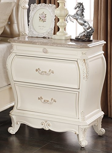 Meridian Furniture Marquee-NS Marquee Solid Wood 2 Drawer Nightstand with Traditional Hand Carved Designs and Genuine Marble Top, Pearl White Finish with Gold ()